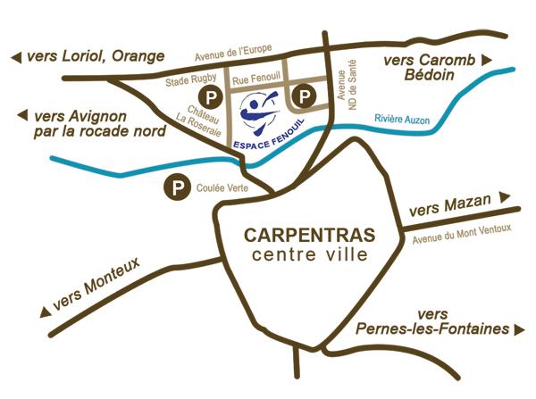 plan d'accès espace fenouil carpentras reliance 84 ecole de reflexologie plantaire
